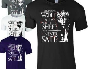 Arya Stark T-Shirt Game Of Thrones T-Shirt Leave One Wolf Alive Men's T-Shirt