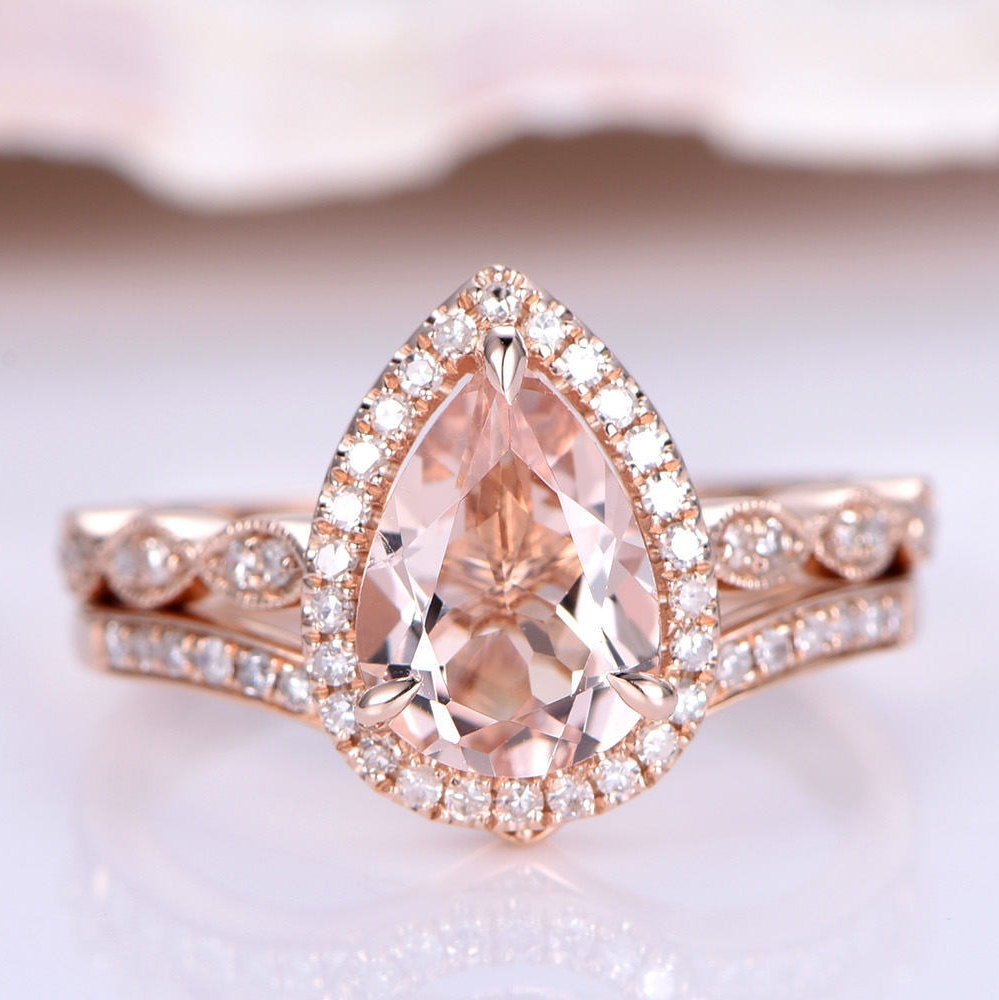 Wedding Ring Set Morganite Engagement Ring 8x12mm Pear Cut Morganite ...