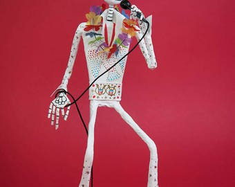 Elvis Presley, 70's, Catrina, Day of the dead, sculpture, skeleton, hand made, paper mache, figure, mexican art, Skull, fan art