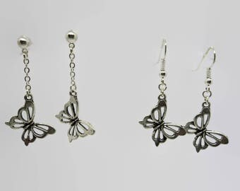 Earrings Butterfly - silver - Doodle 4.5 cm