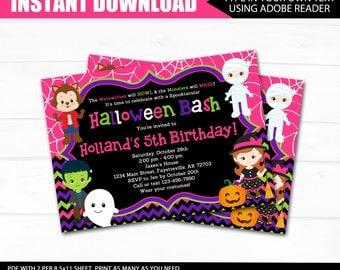 HALLOWEEN Birthday Invitation, INSTANT DOWNLOAD, Halloween Party, Girl Halloween Birthday, Birthday Invitation, Printable Invitation, 5x7