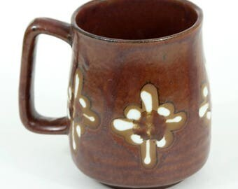 Brown Pottery Mug, Cup, Southwest Design, Vintage, EUC, Flawless