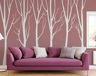 Nursery Wall Decal Birch Trees Vinyl Decal, Winter Tree  Wall Decal, Modern Tree Vinyl Sticker Vinyl Wall Decal ABTR4