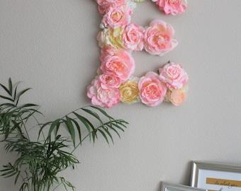 Flower monogram, flower letter, nursery decor, floral letter, pink and yellow, Christmas gift, kids room, babyshower gift, wall decor