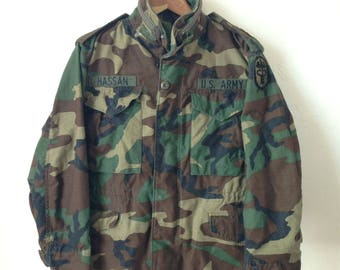 Vintage 1984 US Army M65 Field Jacket - Woodland Camo Medical Corps - Size XS/Small