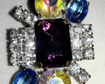 Purple and Clear Rhinestone Vintage Pin Brooch