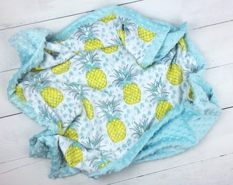 Pineapple minky blanket, baby minky blanket,  boy girl blanket, neutral  gender blanket, throw blanket, baby shower, birth gift, adult size