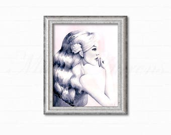 Original Watercolor Painting, Portrait, Pink and Gray Painting, Fashion Illustration, Original Artwork, Home Decor, Office Decor, 8x10