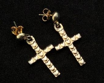 Yellow gold plated Love Hearts Cross Dangle Earrings, Ladies Gold Cross Earrings