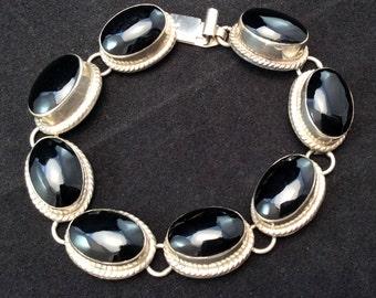 Vintage Mexico Taxco Sterling Silver Oval Black Onyx Link Bracelet, Southwestern Black Onyx Bracelet