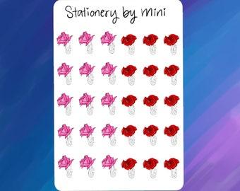 Rose| Floral| Vintage| Flower| Roses Paper Clip Planner Stickers (NF3)