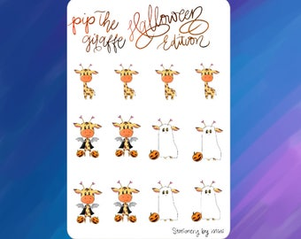 Pip- Halloween Themed Giraffe Adorable Planner Stickers