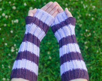 Striped Armwarmers - Custom Arm Warmers - Knit Armwarmers - Hand Knit Warmers - Texting Warmers - Long Armwarmers - Knitted Arm Warmers