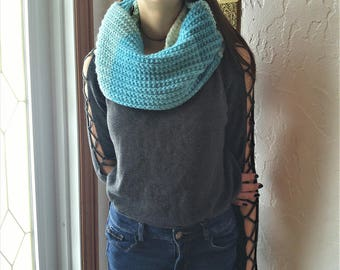 Infinity scarf shades of blue, two laps, multi-tone scarf, perfect for the winter scarf knitted by hand