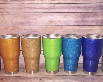 Stainless Steel Personalized/Monogrammed Glitter Covered Tumblers