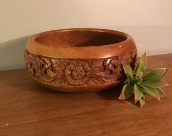 Engraved Teak Bowl