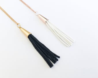 Rose Gold White Tassel Necklace, Black Gold Tassel Necklace, Jewelry, Layering, Fringe, Tassle Necklace