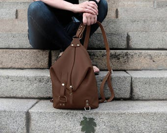 Brown Leather backpack purse minimalist Woman leather rucksack Leather Shoulder Bag college knapsack backpack leather bag Women's daily bag