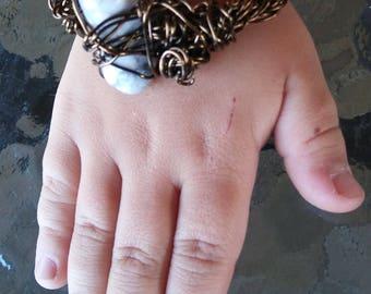 Wrapped Brass Stone Bracelet
