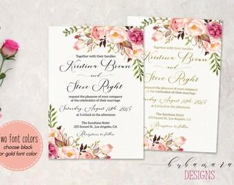 Pink Floral Wedding Invitation Suite Printable Summer Wedding Invite Set Digital Bohemian Peony Flowers Set Spring Wedding Invite - WS014