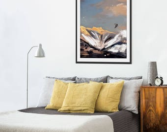 Mountain Print. Snowboarding. Mountain Art. Mountain Painting. Mountain Gifts. Wall Art. Wall Decor.
