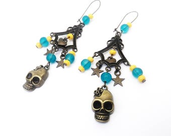 Calaveras earrings colorful - skull Mexican flower - sugar skull - dia los muertos - day of the dead