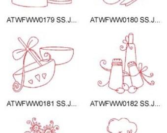 Redwork-Kitchen. ( 10 Machine Embroidery Designs from ATW ) XYZ17F