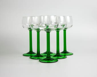 Set of Six Elegant French Sherry Glasses with Emerald Green Stem, 1950s, Made in France