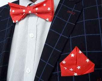 Red Bow Tie for men Red pocket square Groomsmen set Bow tie set Wedding bow tie set Stylish bow tie Groom accessory Pocket Square