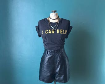 Vintage Leather Shorts. Black Leather Shorts. High Waisted Shorts. Motorcycle Shorts. Wilson Leather. Vintage Shorts. Biker Shorts