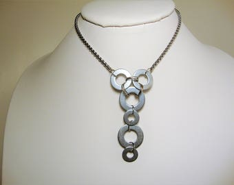 Box Chain Necklace, Hardware Necklace, Lariat Necklace, Geometric Necklace, Industrial Necklace, Stainless Steel Choker,Minimalist Jewelry