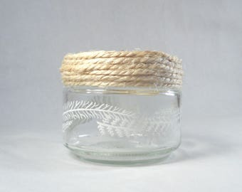 Petit pot verre recyclé corde motifs feuilles couronne végétale vide-poche décoration intérieure bohème fleurs printemps nature