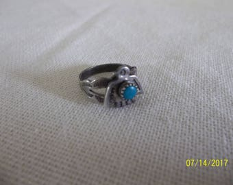 Antique/Vintage Native American Sterling Silver & Turquoise Baby Ring, Shipping included in Price!