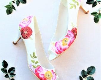 Coral Charm Pink Peony and David Austin Juliet Rose print Hand-painted Custom Peeptoe Wedding Shoes