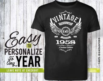 60th birthday, 60th birthday gifts for men, 60th birthday gift, 60th birthday tshirt, 1958, 60th birthday gift for women, vintage 1958, gift