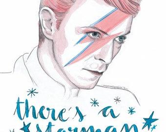 Bowie postcard print