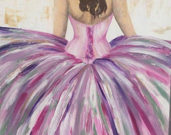 Original Ball Dress Painting on Canvas