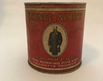 Vintage Prince Albert crimp cut long burning pipe & cigarette tobacco Tin