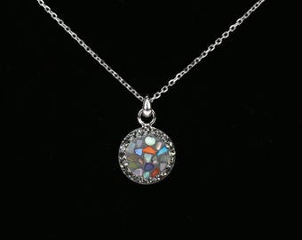 Round Pave Pendant, Sterling Silver Chain, Split Mother Of Pearl, Tiny Swarovski Crystals, Polymer Glue, Unique Korean Style