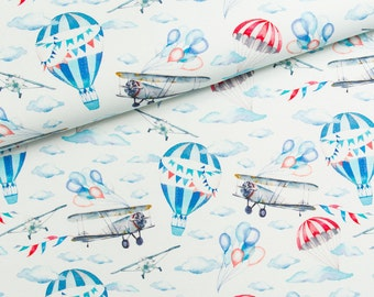 Airplane cotton fabric by the half yard air planes ballons pilot blue print sewing fabric dreamer - fabric for boys and girls
