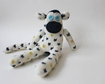 Winter the Sock Monkey | Handmade,  Soft Toy, Birthday Gift, Baby shower Gift, Star socks, Stocking Filler, Star Socks, monkey comforter