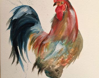 "Cockerel 12"" x 10"" Original watercolour painting"