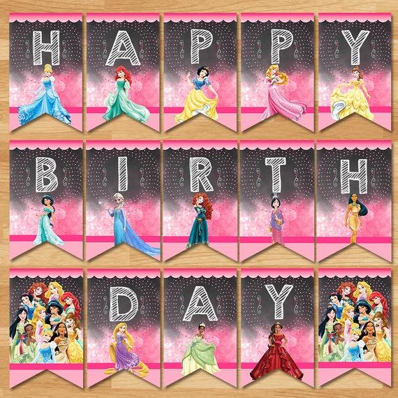 Disney Princess Happy Birthday Banner - Chalkboard - Disney Princess Banner - Princess Party Bunting Banner - Princess Party Printables