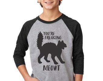 Kids Halloween Shirt, Youre Freaking Meowt Halloween Shirt, Halloween Shirts For Kids, Halloween Shirts For Boys, Halloween Shirts For Girls