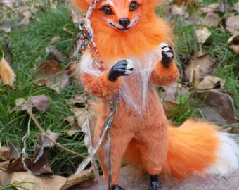 Shaman Fox, Made to order, Red Fox, Fox, Fox Art, poseable doll, Shaman, Forest spirit, Fores Guard Fox,9""