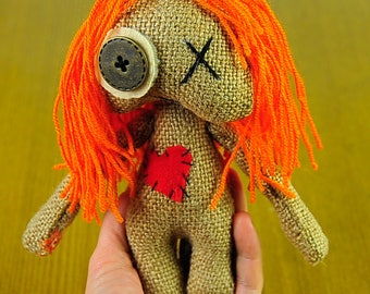 Red hair doll voodoo Handmade doll Valentine Pretty doll FREE SHIPPING OOAK Art doll Dolls Gifts Travel doll  For he  Prim Booo Dolls Heart