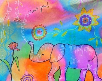 Thank You Elephant -012-Mixed Media Painting by Carianne James