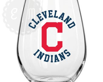 Cleveland Indians 21 oz stemless wine glass