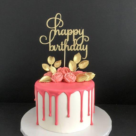 Glitter Happy Birthday Cake Topper Birthday Cake Topper