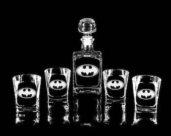 BATMAN Whiskey Decanter (17 oz.) & 2 or 4 glasses DARK KNIGHT Gift for men Mens gift Gift for him Gift for man Christmas gift Fathers gift